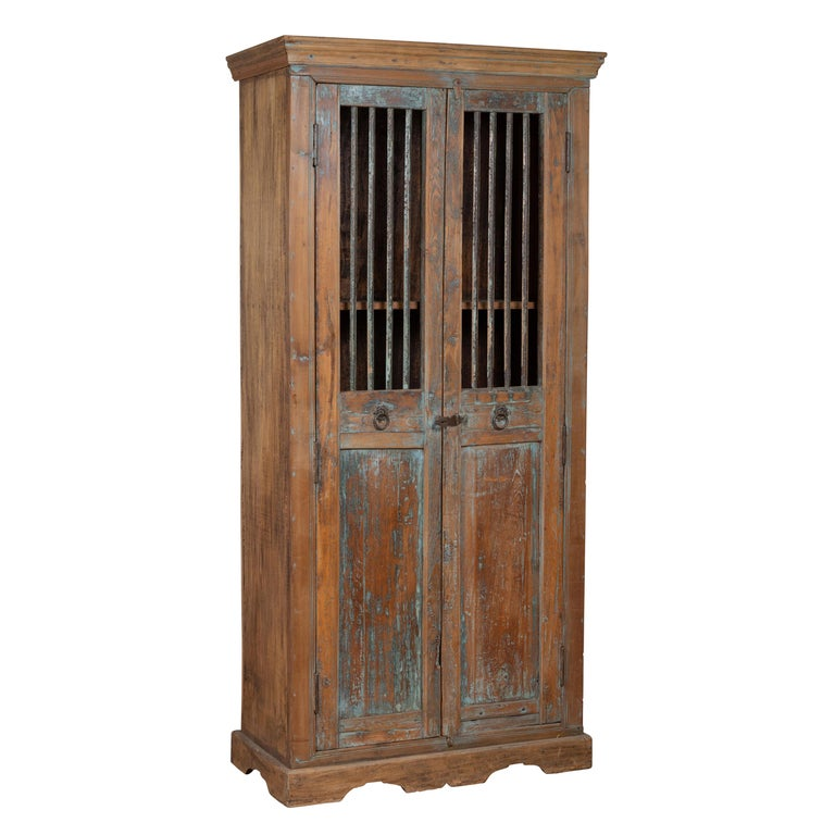 Early 20th Century Indian Rustic Wooden Kitchen Cabinet With Distressed Finish For Sale At 1stdibs