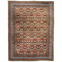 Early 20th Century Indian Sky Blue, Red, Brown and Beige Handwoven Wool Rug