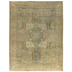 Early 20th Century Indian Wool Rug in Light Gray, Caramel, Beige, Cream & Brown