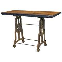Early 20th Century Industrial Cast Iron and Pine Work Table