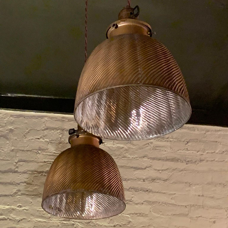 Brass Early 20th Century Industrial Gold X-Ray Mercury Glass Dome Pendants Lights For Sale