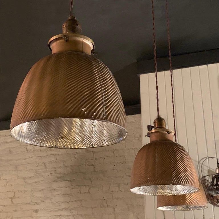 Early 20th Century Industrial Gold X-Ray Mercury Glass Dome Pendants Lights For Sale 1