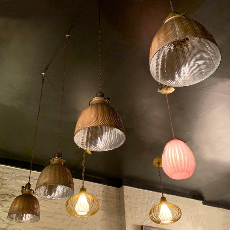 Early 20th Century Industrial Gold X-Ray Mercury Glass Dome Pendants Lights For Sale 3
