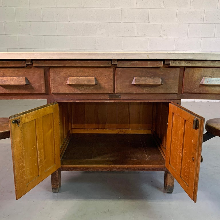 Early 20th Century Industrial Laboratory Workbench For Sale 4