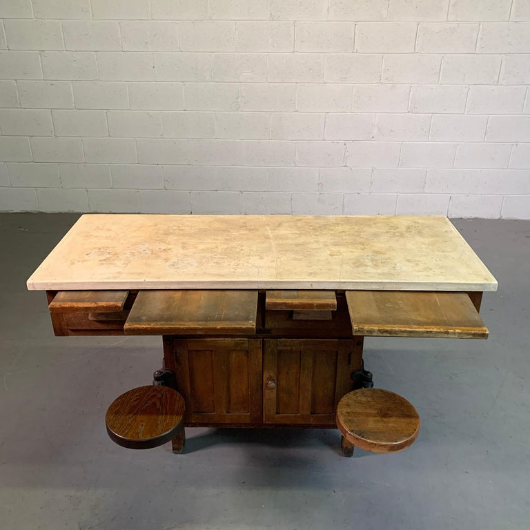 Early 20th Century Industrial Laboratory Workbench For Sale 5