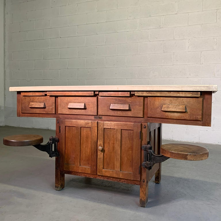 Cast Early 20th Century Industrial Laboratory Workbench For Sale