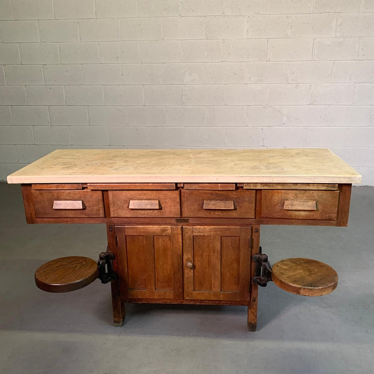 Early 20th Century Industrial Laboratory Workbench In Good Condition For Sale In Brooklyn, NY