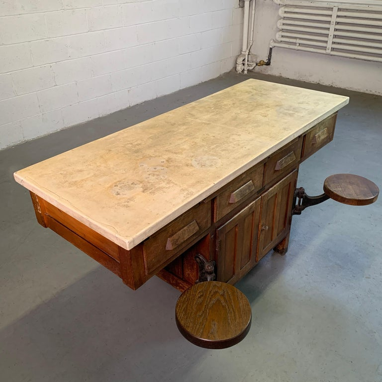 Early 20th Century Industrial Laboratory Workbench For Sale 1