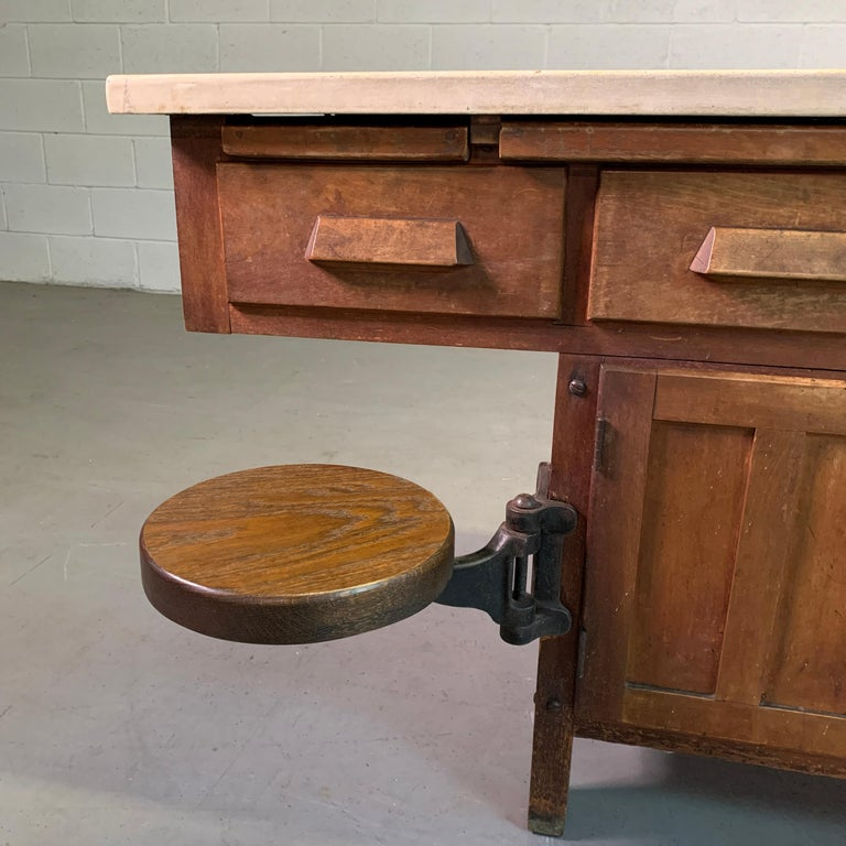 Early 20th Century Industrial Laboratory Workbench For Sale 2