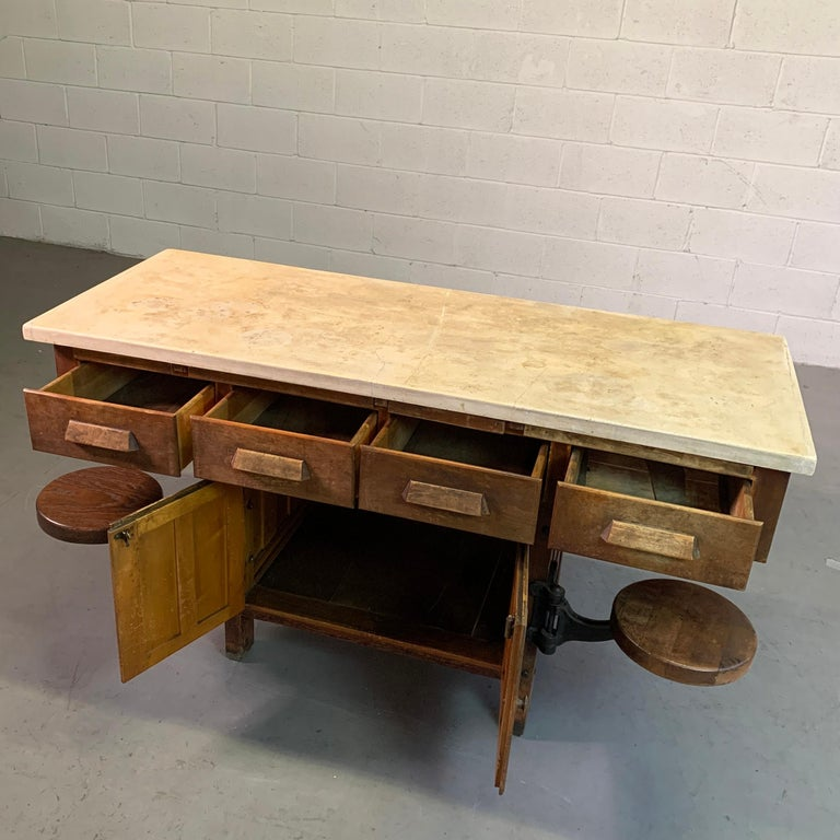 Early 20th Century Industrial Laboratory Workbench For Sale 3