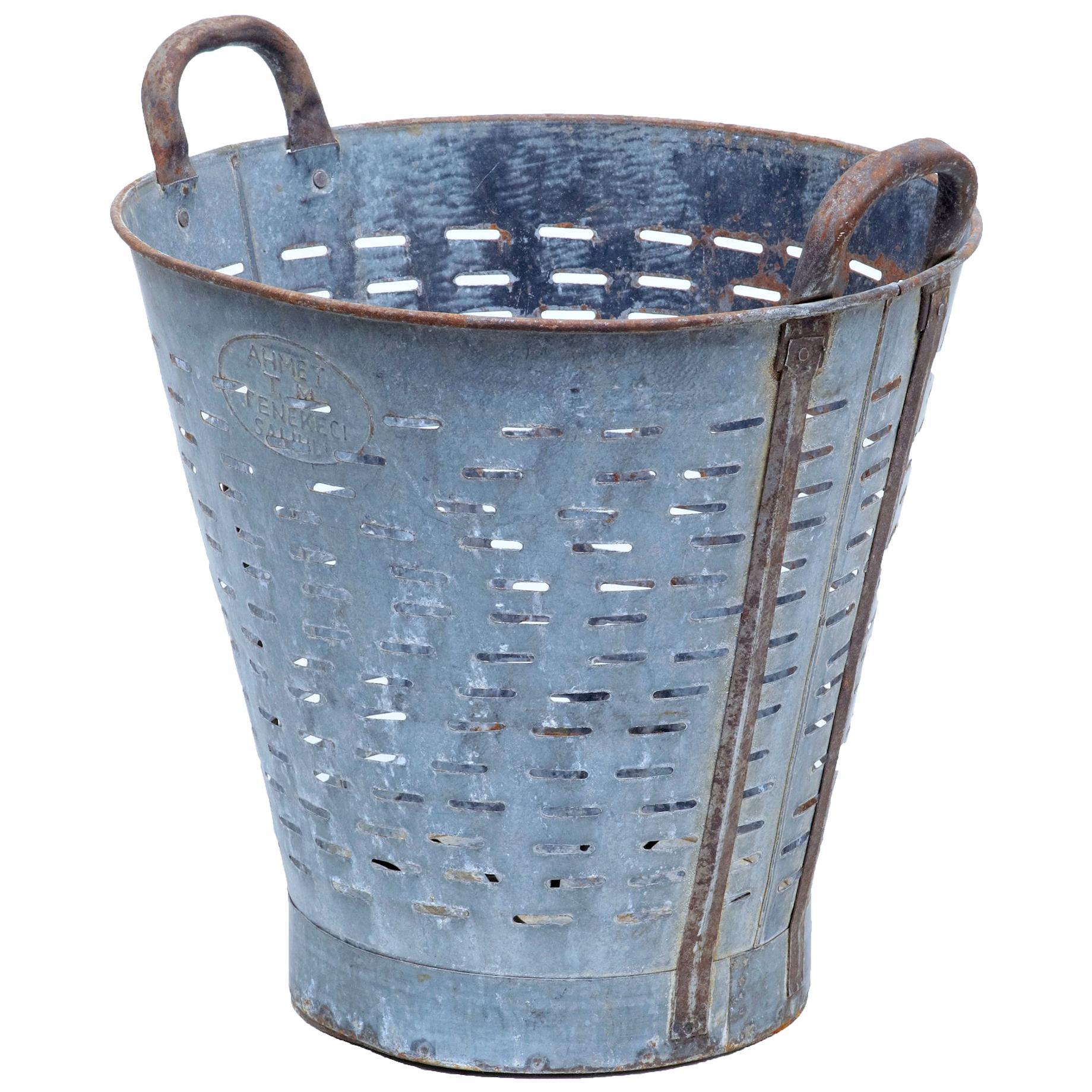 Early 20th Century Industrial Metal Basket