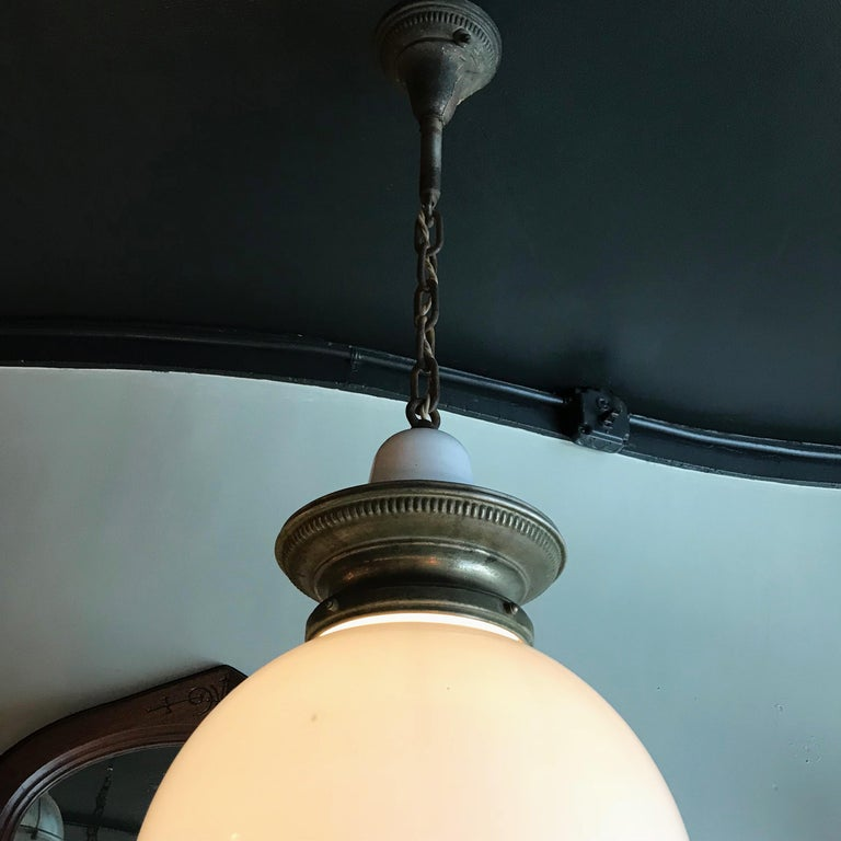Early 20th Century Industrial Milk Glass Globe Library Pendant Light For Sale 1