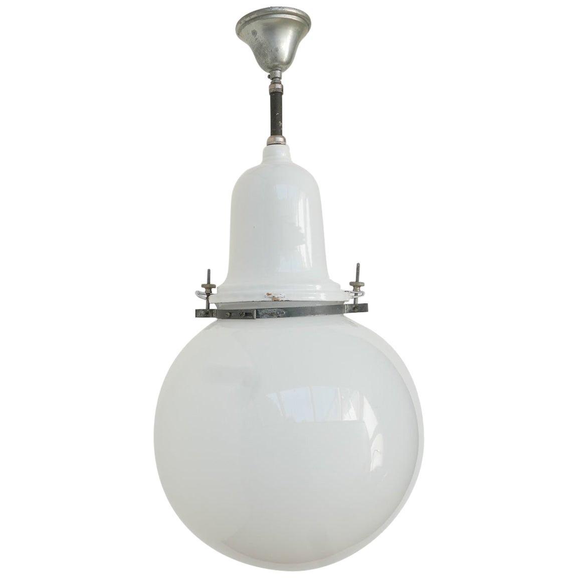 Early 20th Century Industrial Opaline Pendant Light
