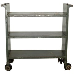 Early 20th Century Industrial Rolling Library Cart, circa 1900-1930