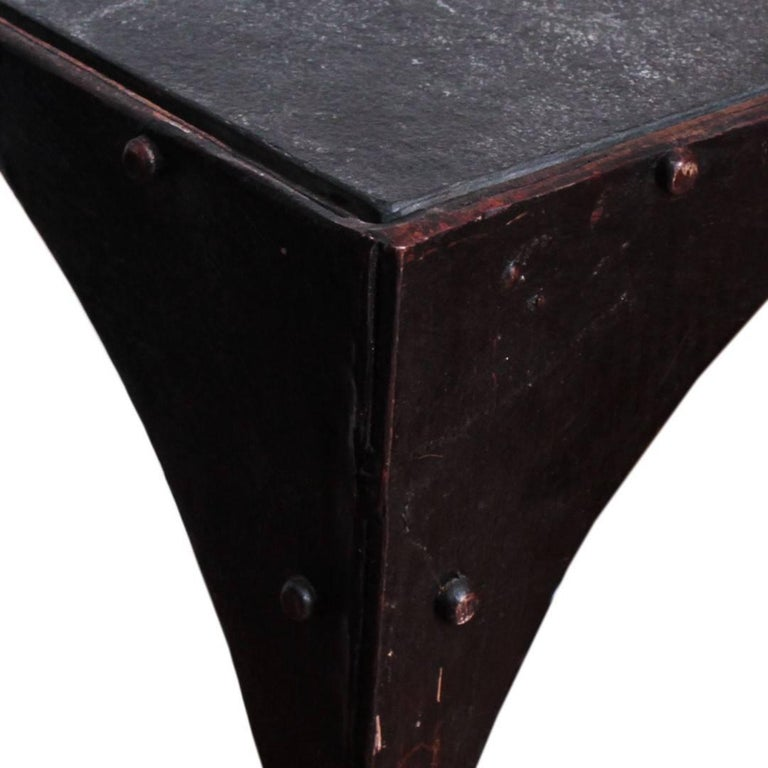American Early 20th Century Industrial Steel Side Table with Casters For Sale