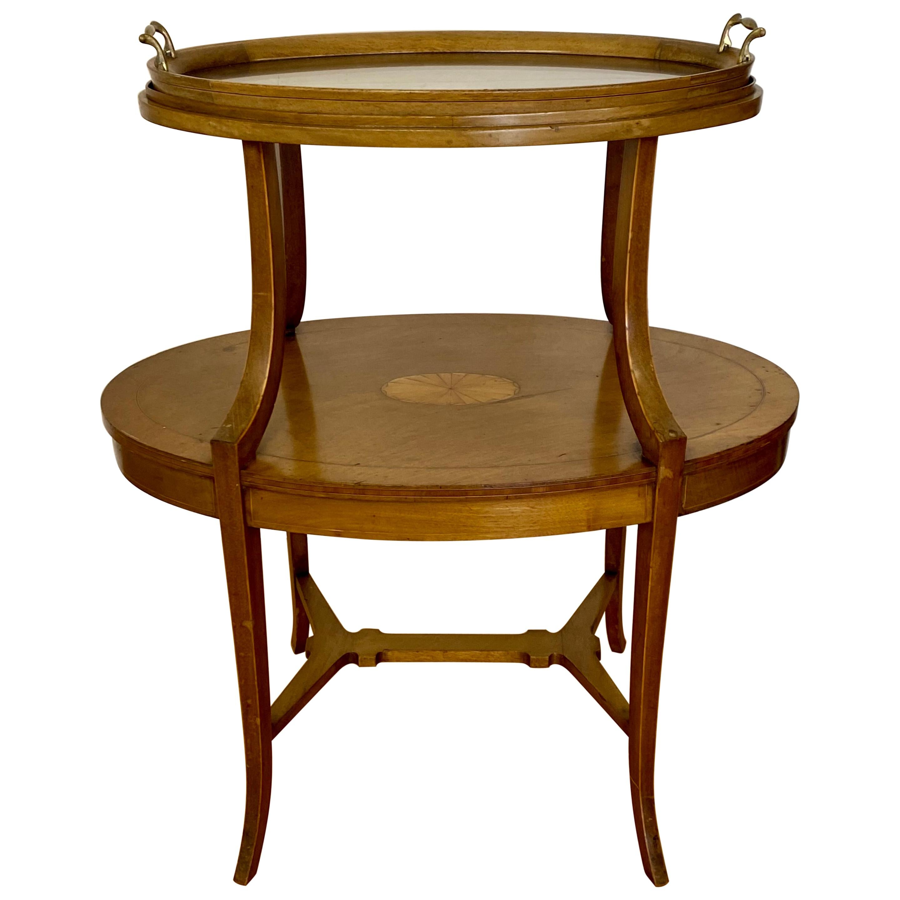 Early 20th Century Inlaid Two Tier Dessert Table W/ Serving Tray