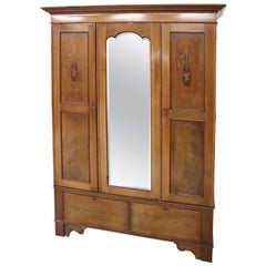 Early 20th Century Inlaid Walnut Wardrobe or Armoire with Mirror