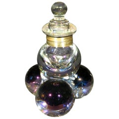 Early 20th Century Iridescent Glass Inkwell, England, circa 1900