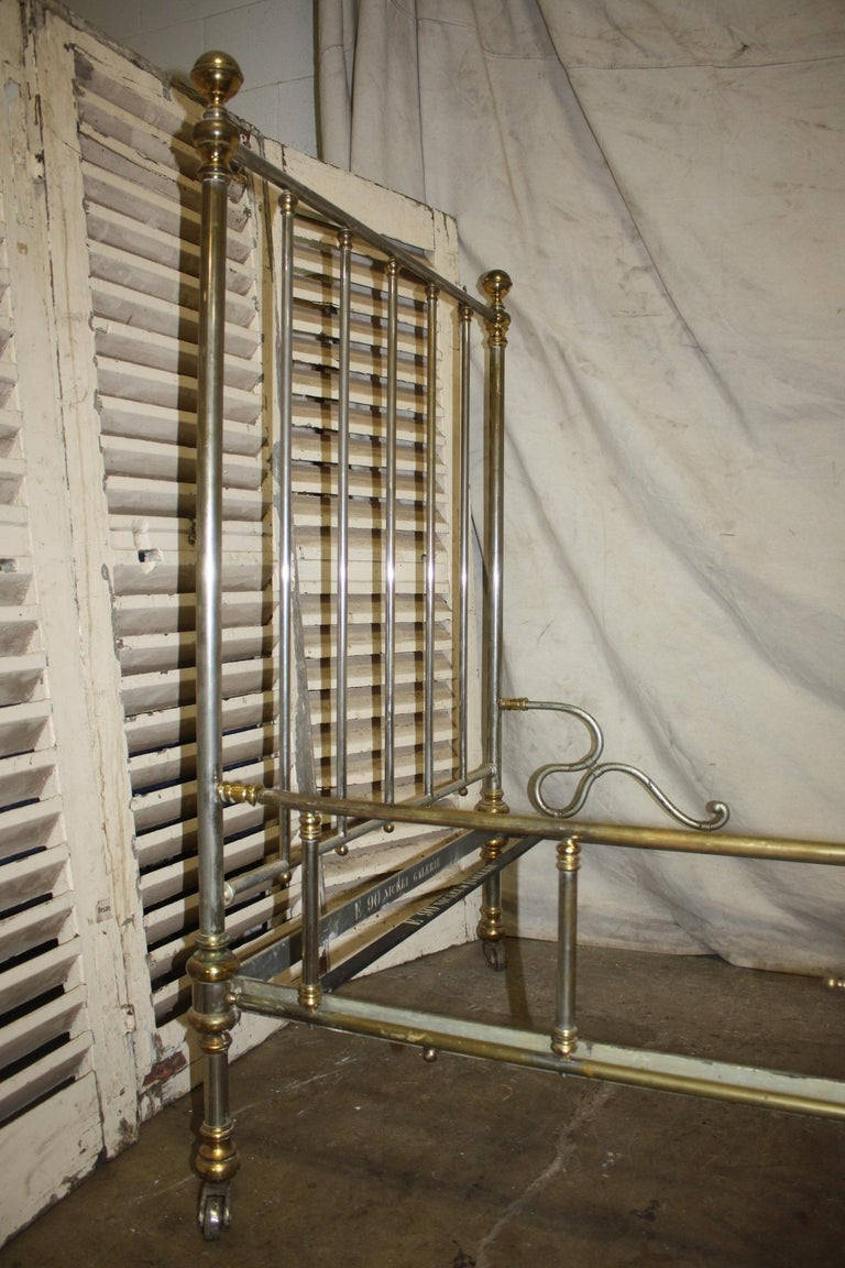 Brass Early 20th Century Iron Bed For Sale