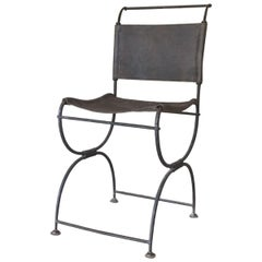 Early 20th Century Iron Leather Side Chair Campaign Chair