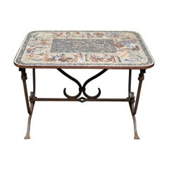 Early 20th Century Iron Table with Mosaic Stone Top from England