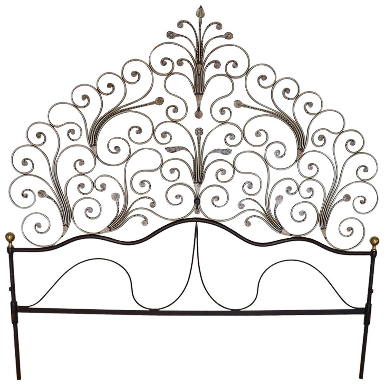 Early 20th Century Italian Baroque Style Gilded Wrought Iron Headboard