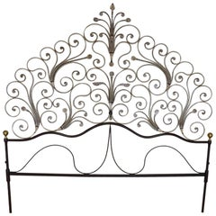 Early 20th Century Italian Baroque Style Gilded Wrought Iron Headboard