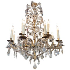 Early 20th Century Italian Beaded Crystal 12-Light Chandelier