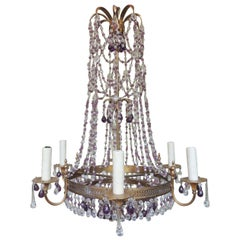 Early 20th Century Italian Brass and Crystal Chandelier