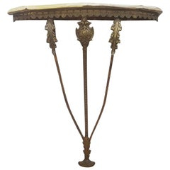 Early 20th Century Italian Brass and Onyx Console