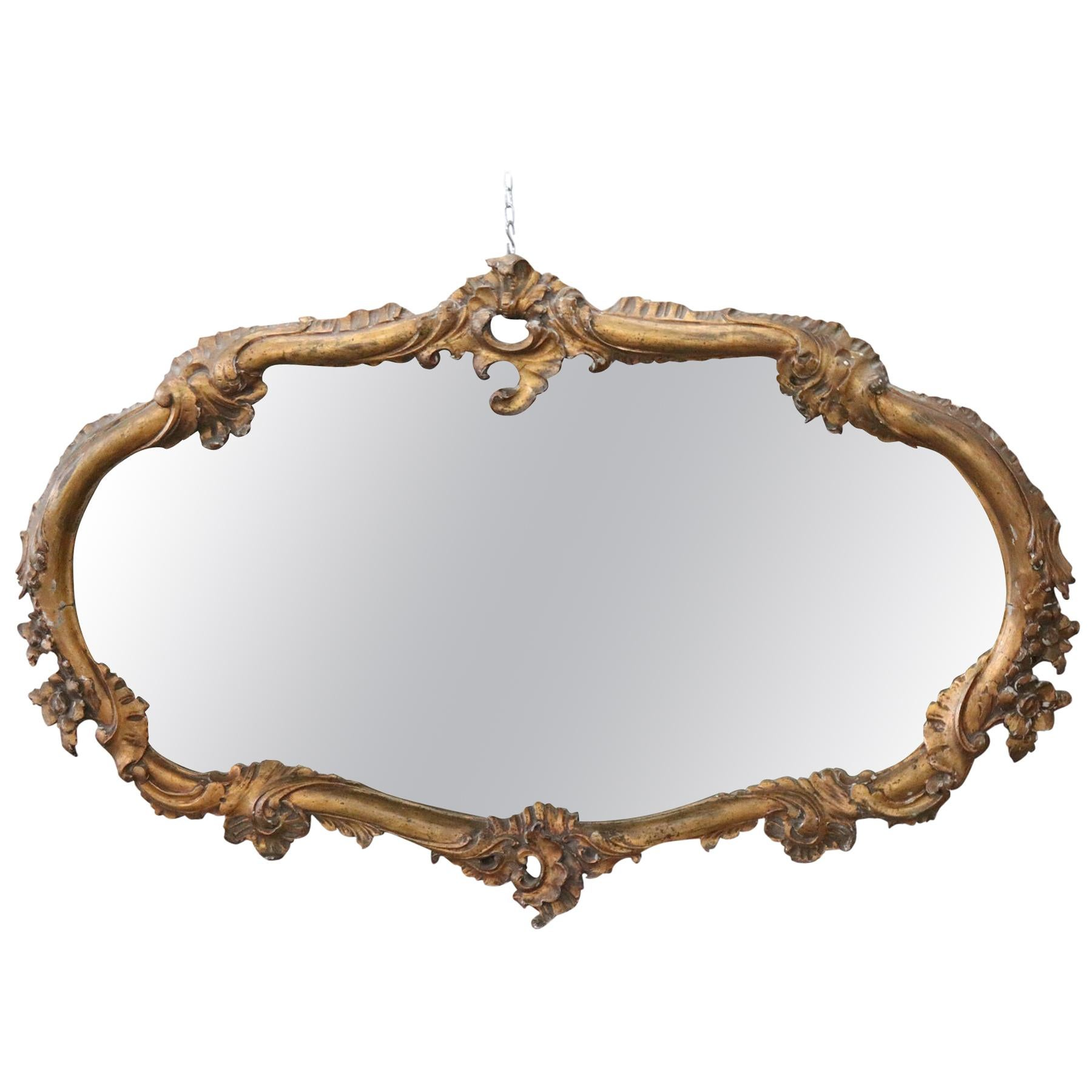 Early 20th Century Italian Carved Gilded Wood Wall Mirror