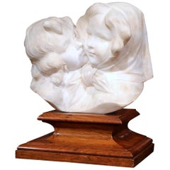 Early 20th Century Italian Carved Marble Composition on Wood Stand Signed A Gory