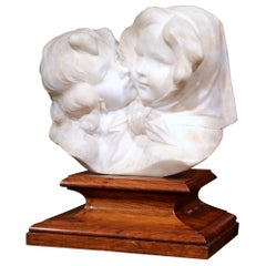 Early 20th Century Italian Carved Marble Sculpture on Wood Stand Signed A. Gory