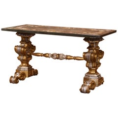 Early 20th Century Italian Carved Silver and Gilt Coffee Table with Marble Top