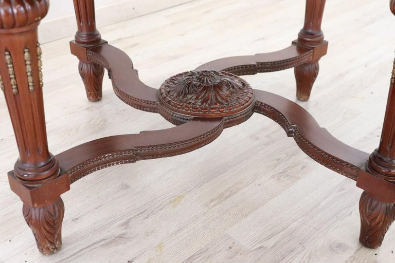 Mid-20th Century Early 20th Century Italian Carved Walnut Round Center Table with Red Marble Top For Sale