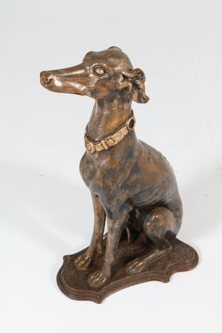 Early 20th Century Italian Carved Wood Seated Greyhound Sculptures For Sale 7