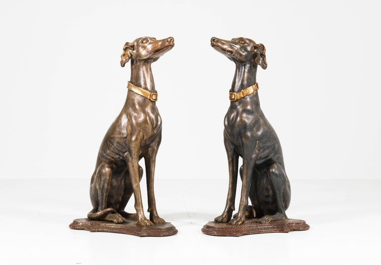 Early 20th Century Italian Carved Wood Seated Greyhound Sculptures For Sale 10