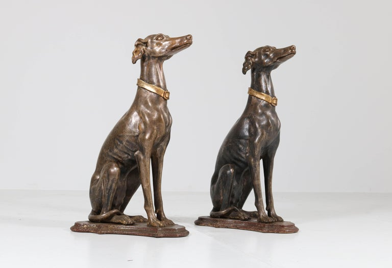 Early 20th Century Italian Carved Wood Seated Greyhound Sculptures For Sale 11