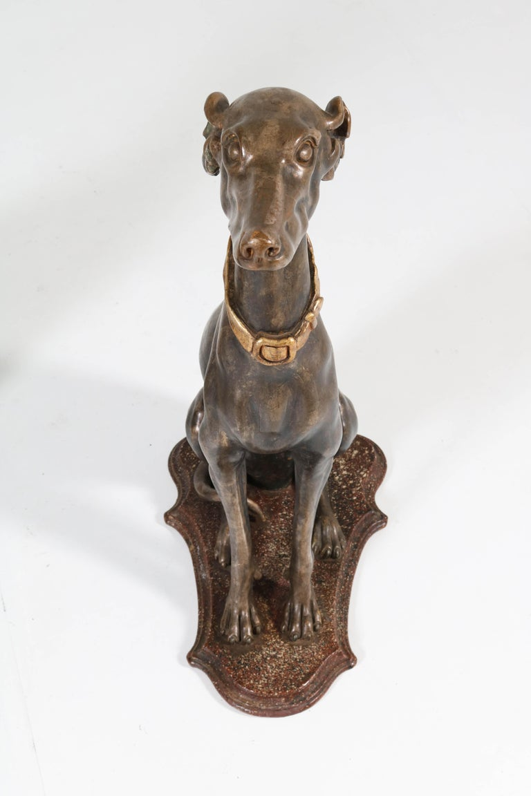Early 20th Century Italian Carved Wood Seated Greyhound Sculptures For Sale 3