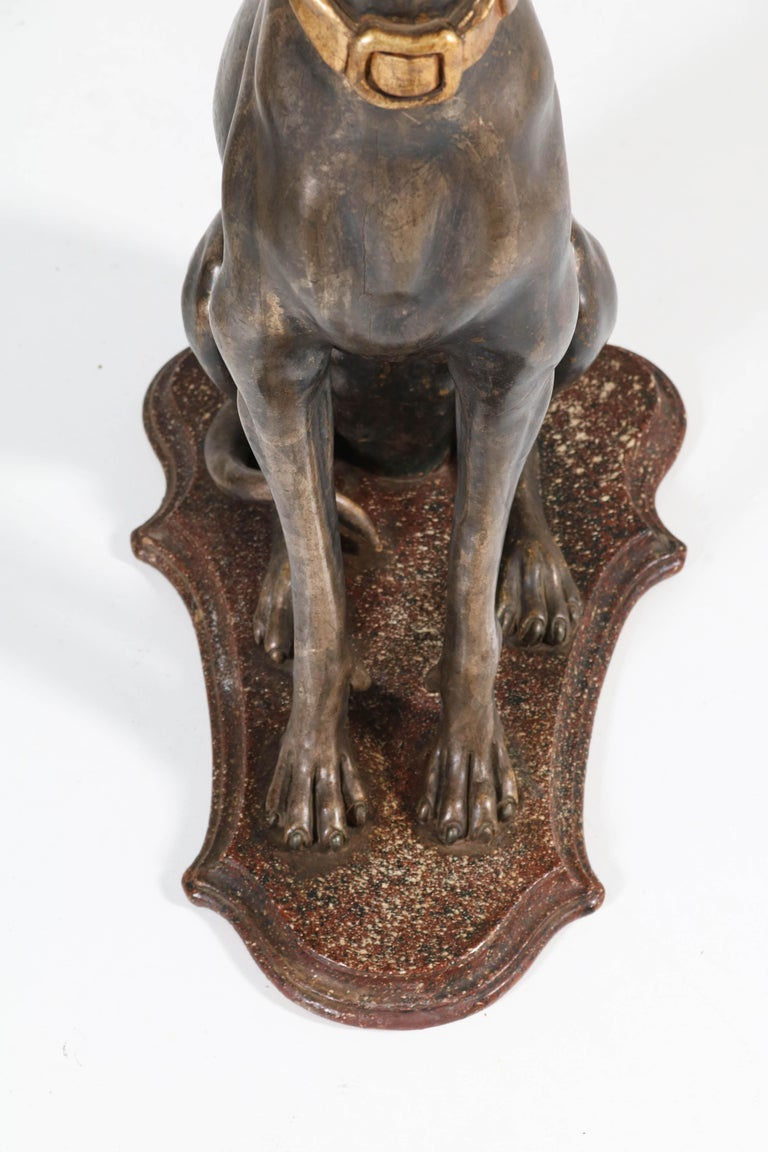 Early 20th Century Italian Carved Wood Seated Greyhound Sculptures For Sale 4