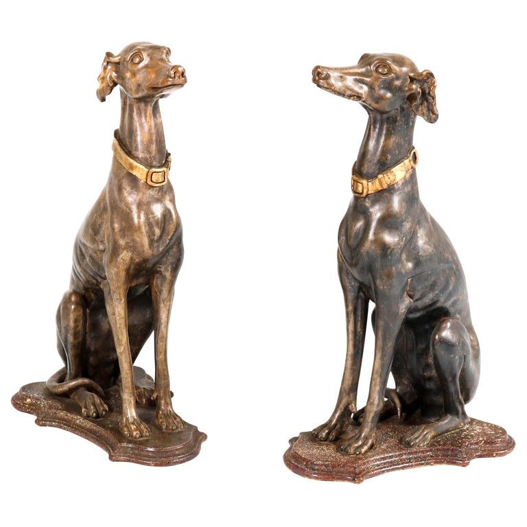 Early 20th Century Italian Carved Wood Seated Greyhound Sculptures For Sale