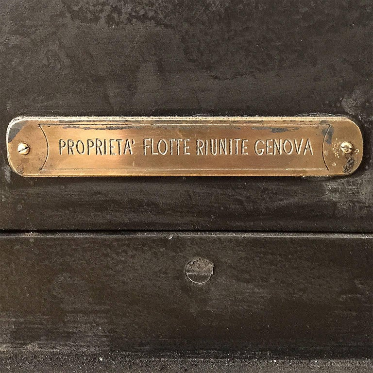 Mid-20th Century Early 20th Century Italian Cast Iron Safe from the Conte Di Savoia Ocean Liner For Sale