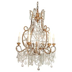 Early 20th Century Italian Chandelier in Wood, Gilt-Iron and Glass