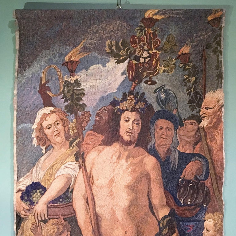 A beautiful Italian embroidered tapestry depicting a Bacchanalia. A stunning eye catcher and wall decoration. Italy, early 20th century.