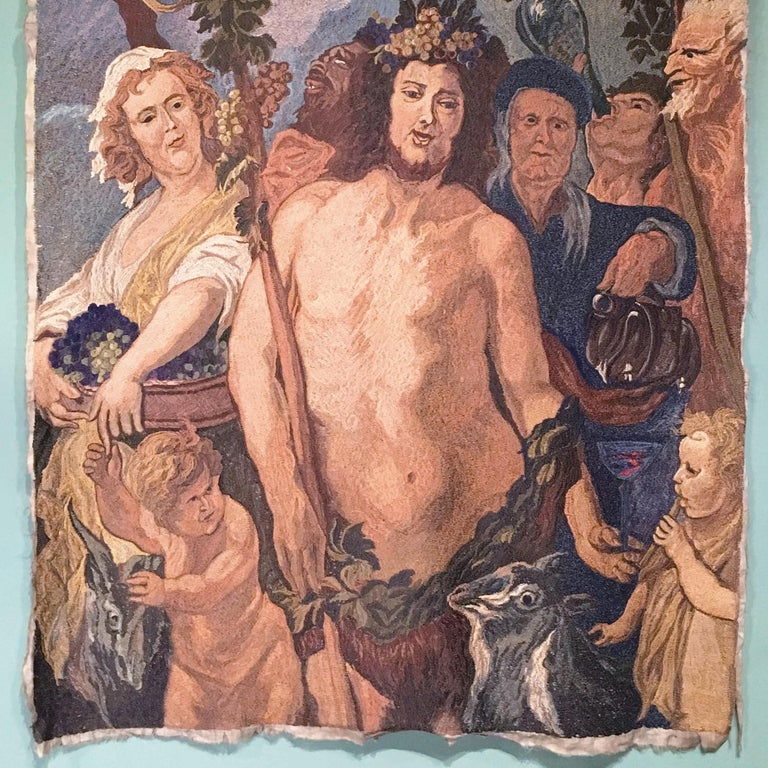 Early-20th Century Italian Embroidered Tapestry Depicting a Bacchanalia In Good Condition For Sale In Firenze, Tuscany