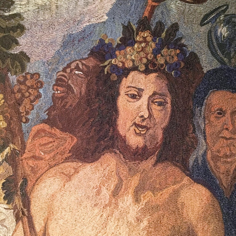 Fabric Early-20th Century Italian Embroidered Tapestry Depicting a Bacchanalia For Sale