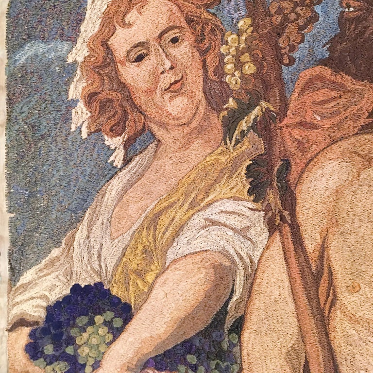 Early-20th Century Italian Embroidered Tapestry Depicting a Bacchanalia For Sale 1