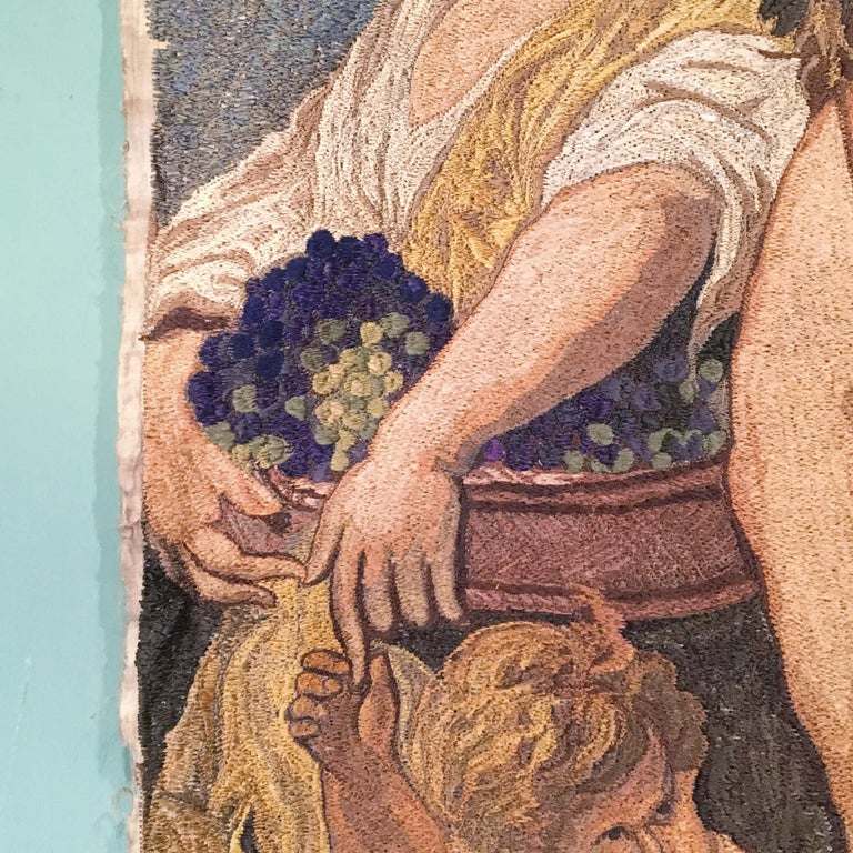 Early-20th Century Italian Embroidered Tapestry Depicting a Bacchanalia For Sale 2