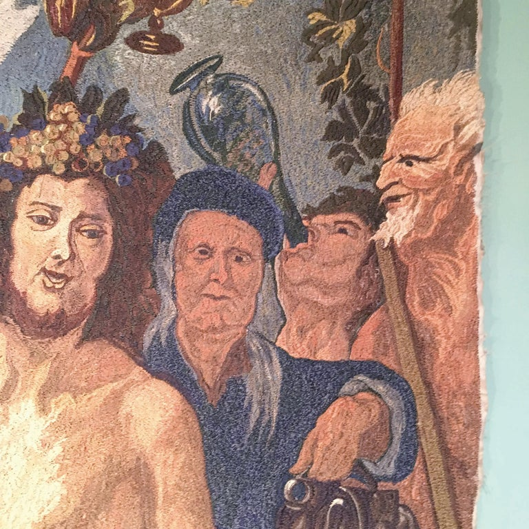 Early-20th Century Italian Embroidered Tapestry Depicting a Bacchanalia For Sale 4