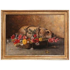Early 20th Century Italian Framed Still Life Oil Painting Signed G. Becciani